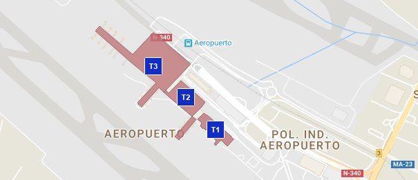 Översiktskarta Malaga Flygplats